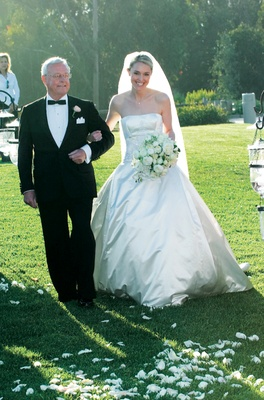 Bride's dad in tuxedo with white pocket square