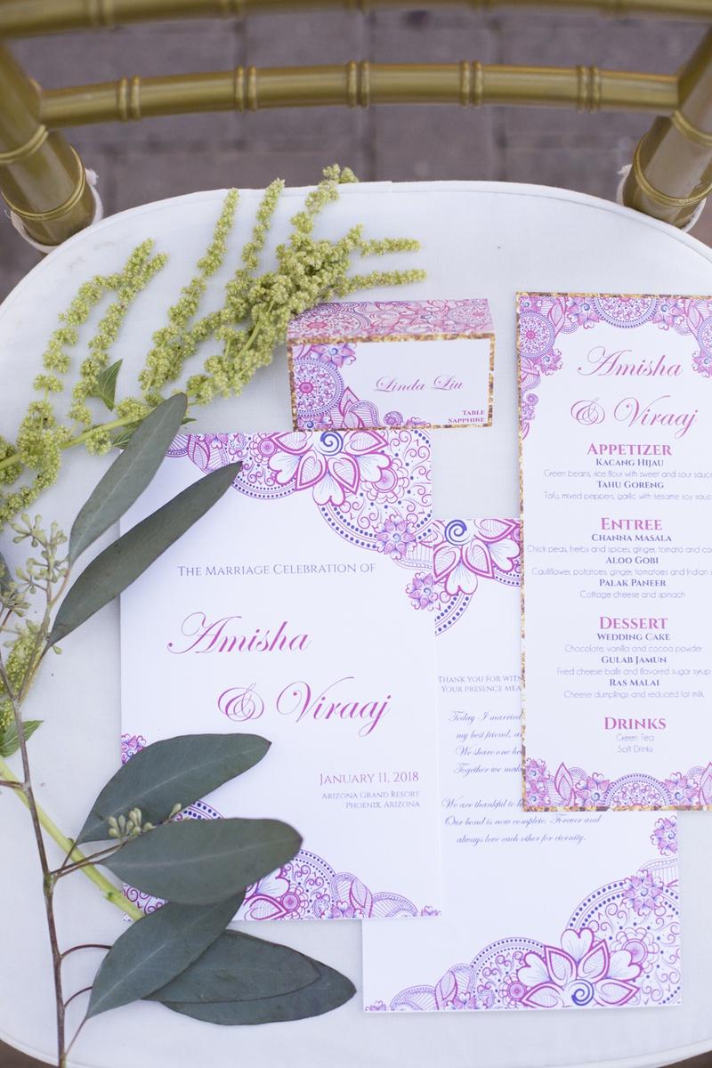 south asian wedding inspiration, intricate pattern on invitations, menu, wedding stationery