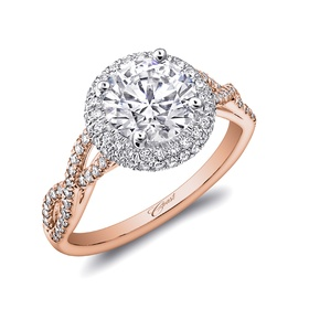 Rose gold collection round halo ring with diamond twists