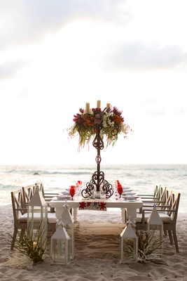 long tablescape tall centerpieces beach punta mita mexico wedding styled shoot tropical colorful
