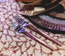 detailed sequin table linen copper wedding styled shoot purple metallics silverware sparkly