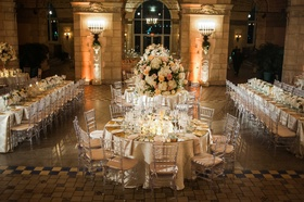 Henry Morrison Flagler Museum wedding reception round table long rectangle table tall centerpieces