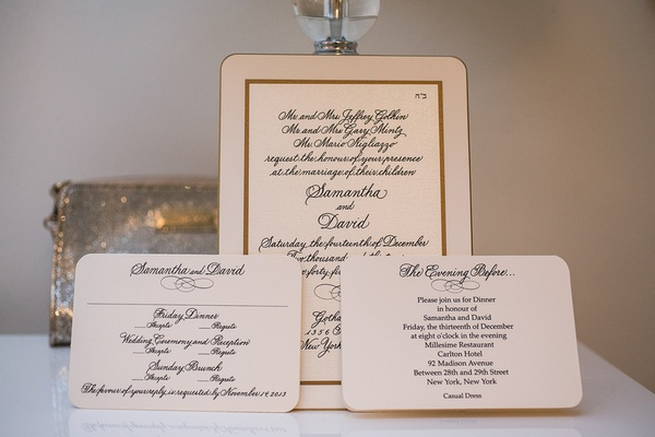 Rounded corner wedding invitation, response card with gold border and handwritten calligraphy