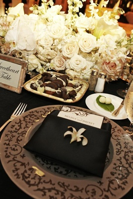 Plate of chocolate desserts on black sweetheart table