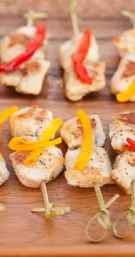 Grilled chicken kabobs with roasted red peppers
