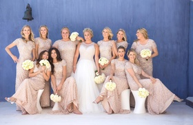 bride in mark zunino wedding dress, bridesmaids in nude sequin adriana papell gowns