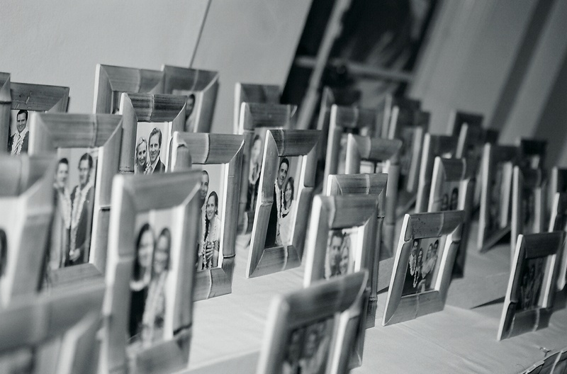 Black and white photo of bamboo frame party favors