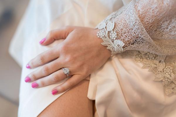 engagement ring three stone emerald cut pink manicure nail polish