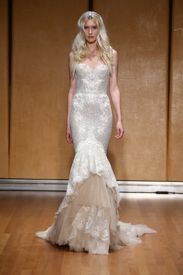 87d9abb7572505 Inbal Dror 2017 bridal collection mermaid trumpet wedding dress sweetheart  neckline lace nude tulle
