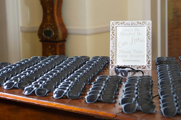 Sunglasses wedding favors for outdoor ceremony don't be blinded by our love sign