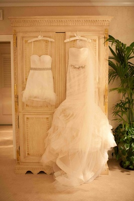 Vera Wang wedding dress and mini reception dress