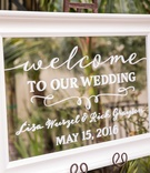 welcome sign calligraphy mirror outdoors white outside couples venue
