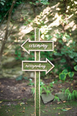 moss signage wood calligraphy ceremony reception celtic wedding