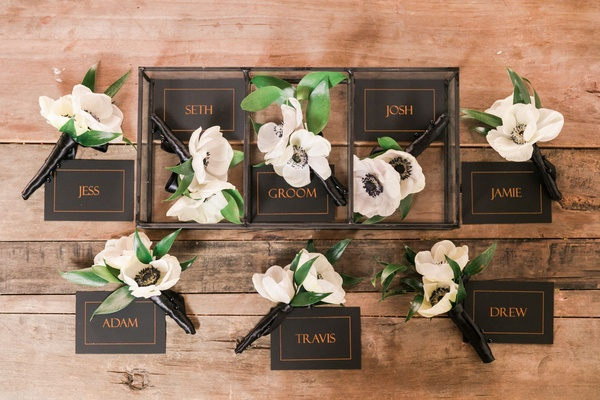 Two flower boutonniere with named box anemone flowers