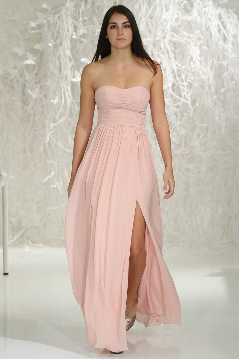 cf2be9aeb80 Watters Bridesmaids 2016 strapless bridesmaid dress with front slit in pink