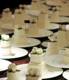 Personal size two layer wedding cakes for each guest