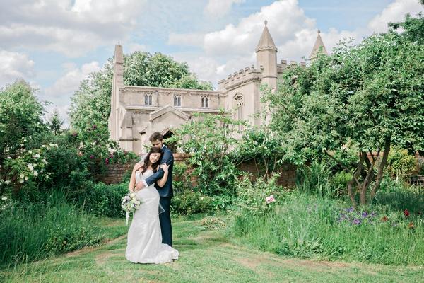 newlyweds english england british garden andrews church ceremony venue peterborough united kingdom