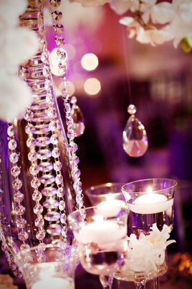 Bling wedding decorations crystal strands on centerpiece