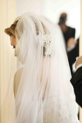 Donatella Arpaia's wedding veil with white flowers underneath