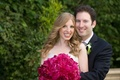 Bride and groom with hot pink bouquet in LA