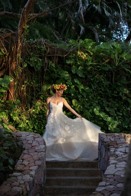 model bride lela rose the altar dress embroidered tulle mexico styled shoot jungle wedding