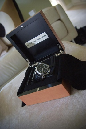 Black Officine Panerai watch in wooden box