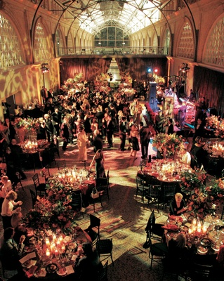 Wedding reception with fall colors at the San Francisco Ferry Building