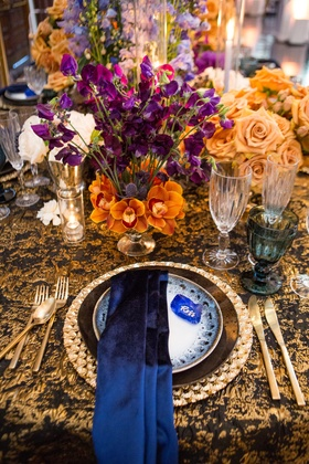 silk navy linens, black and gold table setting, black and gold linens