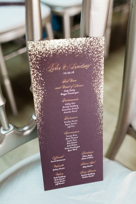 Wedding ceremony program purple burgundy with gold lettering glitter and white lettering details