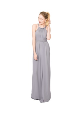 Joanna August Catherine long bridesmaid dress in light grey with twist rope straps