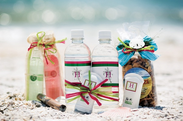 snacks lotion and water bottle wedding favors