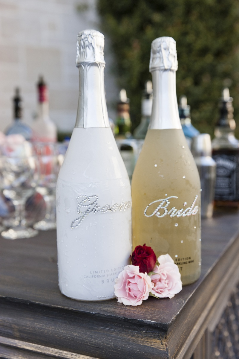 Personalized bottle with rhinestone wedding titles