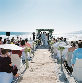 Oceanfront ceremony on beach in Malibu