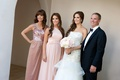 Bride with mother, father, and sister at Santa Barbara wedding