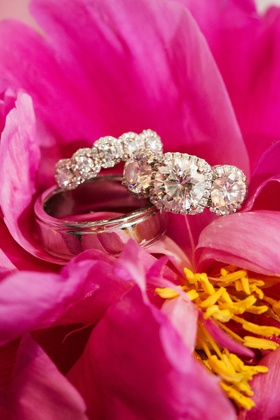 silver rings diamonds band pink and yellow flowers jewelry