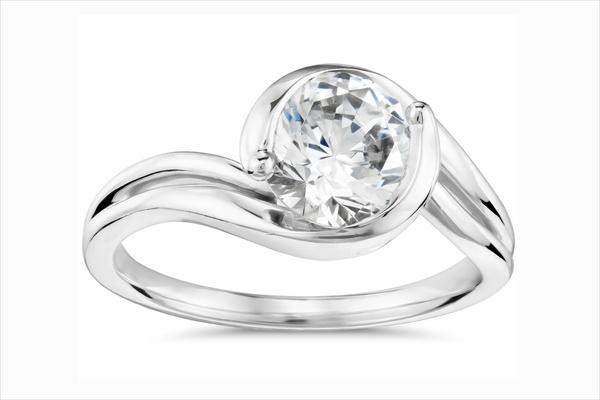 Monique Lhuillier for Blue Nile asymmetrical diamond engagement ring