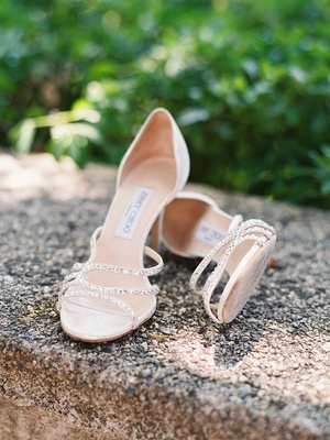 low Jimmy Choo high heel shoes with rhinestones
