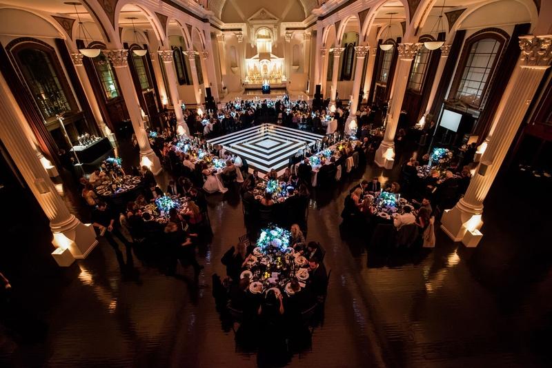 Wedding reception vibiana wedding venue black and white dance floor geometric round and rectangular
