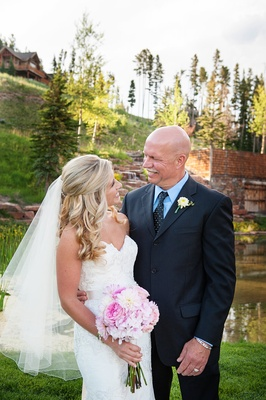 Big Sky, Montana wedding location father of bride looks at daughter