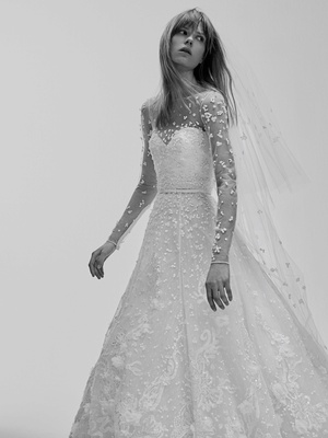 Black And White Photo Of Elie Saab Bridal Spring 2017 Wedding Dress Long Sleeves Embroidery Sheer
