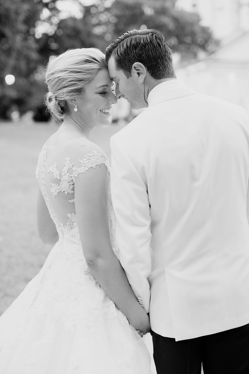 Black and white eskimo kiss bridal wedding portrait groom bride romona keveza wedding dress