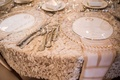 Wedding reception round table silverware flatware with clear crystal charger gold beads