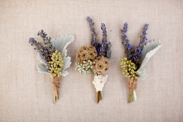 Lavender and scabiosa pods wrapped in twine