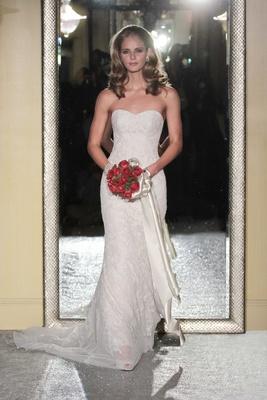 8a7cf6ae783 Oleg Cassini Fall 2016 strapless mermaid wedding dress sweetheart neckline  beaded lace details