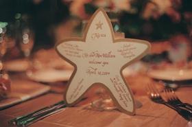Menu written in calligraphy on paper starfish