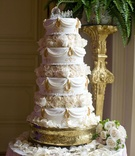 Princess wedding cake with horse and carriage topper