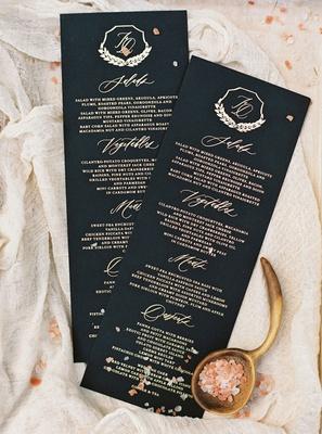 wedding menu card black and gold salad vegetables meat and desserts monogram