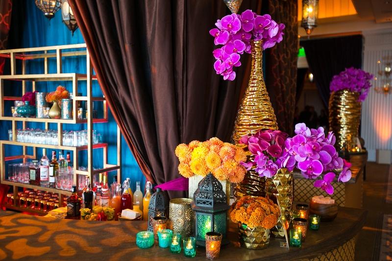 Reception Dcor Photos Vibrant Bar Florals Lanterns Inside