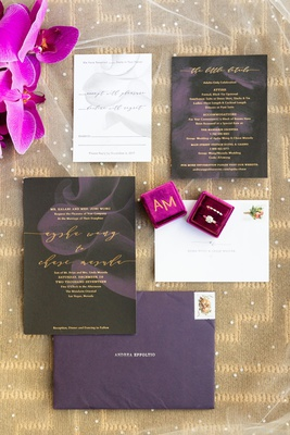 modern invitation suite with charcoal paper and abstract purple flowers, purple invitations