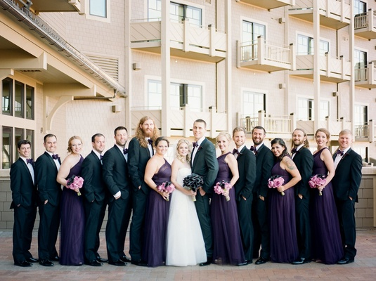 Wedding party at Montage Deer Valley purple bridesmaid dresses and purple bow ties for groomsmen
